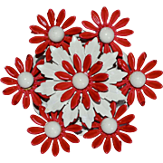 Large Cherry Red & White Enamel Flower Power Pin/Brooch