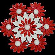 Large Cherry Red & White Enamel Flower Power Pin/Brooch