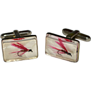 1950s Hickok Awesome Fly Fishing Pink Feather Hooks in Lucite Cuff Links