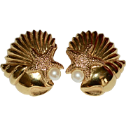 Avon Signed Seashell, Starfish & Faux White Pearl Beach Inspired Clip Earrings