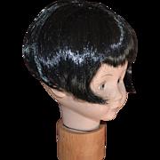 Roaring '20s Deco Style Short Black Bob Hair Doll Wig