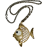 JJ Jonette Jewelry Googly Eye Openwork Goldtone Pucker Fish Pendant Necklace