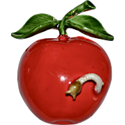 Large 'Original by Robert' Red Enamel Apple w/ Worm Pin/Brooch