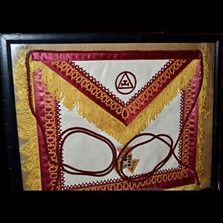 Vintage Freemason Masonic White Leather & Embroidery Apron w/ Fringe & Tassels in Frame