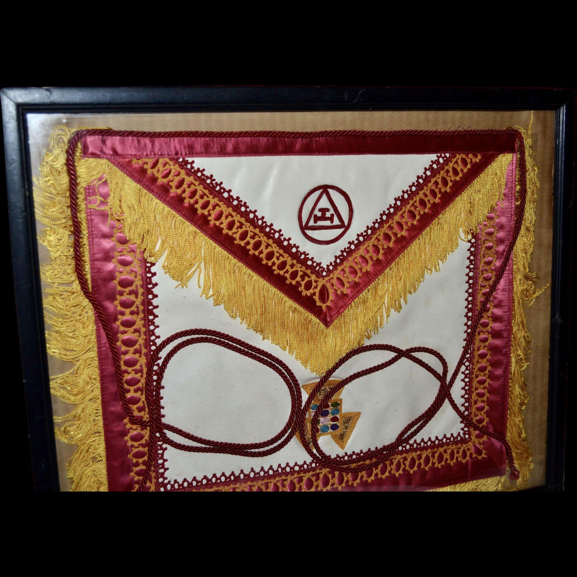 White apron freemason - Vintage Freemason Masonic White Leather Embroidery Apron W Fringe Tassels In Frame