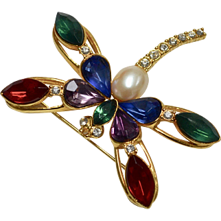 Large Signed TAT Colorful Rhinestone Dragonfly Brooch/Pin