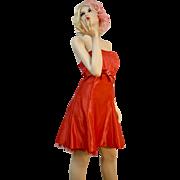 Jessica McClintock Gunne Sax Candy Apple Red Rhinestone Belt Dress