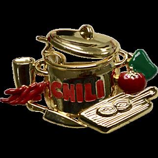 Danecraft Signed Large CHILI Bowl Red Enamel Pin/Brooch on Original Card