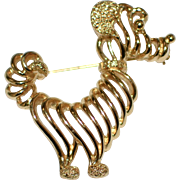 Monet Signed Goldtone Prissy Poodle Brooch/Pin