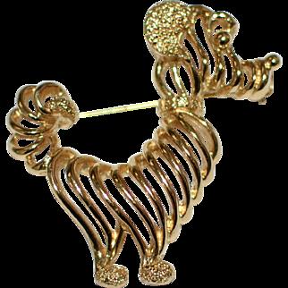Monet Signed Goldtone Prissy Poodle Brooch/Pin