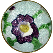 Purple Enamel Abstract Pansy Flower Goldtone Brooch/Pin