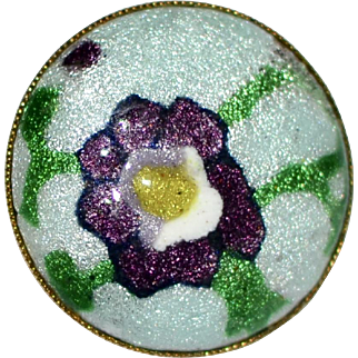 Purple Enamel Abstract Pansy Flower Goldtone Brooch/Pin
