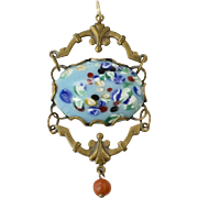 Large Edwardian Blue Glass & Brass Pendant w/ Faux Coral Dangle
