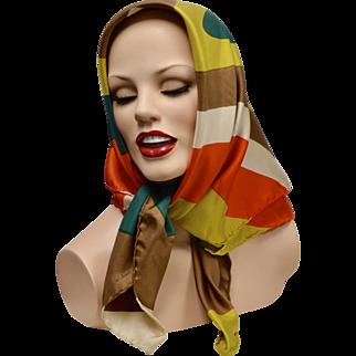 ECHO Designer Modernist Swirl Brightly Colored Pure Silk Scarf ~ Made in Italy