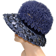 Unusual Union Made Navy Blue Raffia & Tulle Fabric Beehive Style Hat