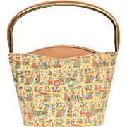 Colorful Egyptian Motif Fabric & Mustard Yellow Bucket Bag