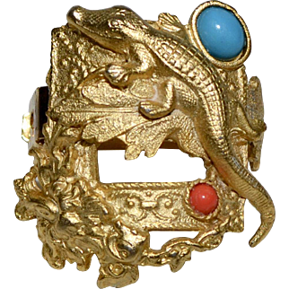 French Goldtone Alligator Faux Turquoise & Faux Coral Cabochon Hair Barrette Clip