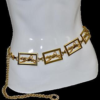 Signed Designer NI Black Enamel Spotted Leopard Goldtone Metal Link Belt