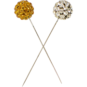 Set of 2 Sparkly Gold & Clear Prong-Set Rhinestone Silvertone Hat Pins