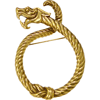 Metropolitan Museum of Art MMA Golden Dragon Scarf Brooch/Pi