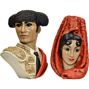 1960s Marwal Set of 2 Spanish Matador Man & Woman Chalkware Bust Sculpture