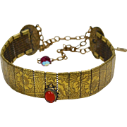 1970s Sarah Coventry Art Deco Style Goldtone Mesh Choker Necklace