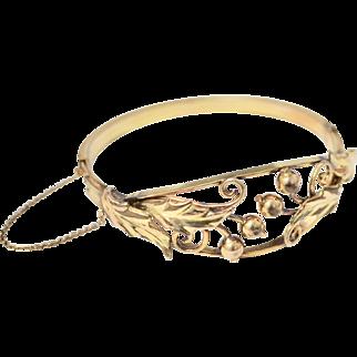 Signed Binder Brothers Art Deco Berry & Leaf 12K GF Hinged Bangle Bracelet