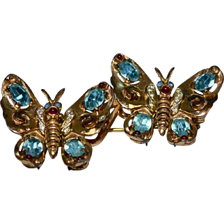 RARE Coro Duette Sterling Silver Vermeil Butterfly 3pc Brooch / Pin /Fur Clips