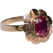 10K Gold Victorian Era Rose Pink Glass Flower Ring ~ Size 7