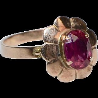 10K Gold Victorian Era Rose Pink Glass Flower Ring ~ Size 7