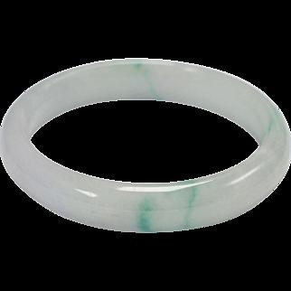 Icy Pale Green Genuine Jade Bangle Bracelet