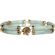 14k Gold Light Green Genuine Jade Double Barrel Link Bracelet
