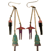 "Laurel Burch ""Homme & Femme"" Large Enamel Goldtone Dangle Earrings"
