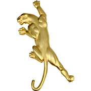 """Signed JJ 1986 Jonette Jewelry Huge 4"""" Figural Panther Goldtone Brooch/Pin"""