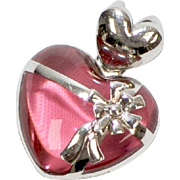 "Signed Sterling Silver Pink Glass Double Heart ""Tied with a Bow"" Pendant"