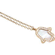 Sterling Vermeil Mother of Pearl & Cubic Zirconia HAMSA Hand Necklace