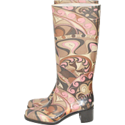 Emilio Pucci Psychedelic Pink & Brown Signature Rubber Rain Boots