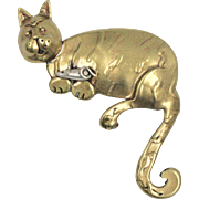 Signed Bronze Goldtone Cat & Mouse Pin/Brooch