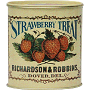 """Strawberry Treat"" Richardson & Robbins Bristol Ware Decorative Collectible Tin"