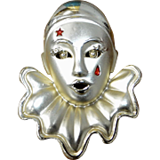 Large Pierrot Harlequin Clown Red Enamel Star & Tear Goldtone Brooch/Pin