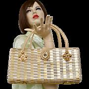 British Colony Hong Kong Large Woven Straw Double Rope Handle Studded Box Style Handbag Purse