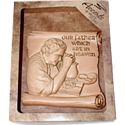 "1986 Miller Studio ""Our Father Which Art in Heaven"" Kitchen Prayer Chalkware Wall Plaque NOS"