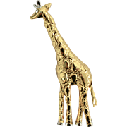 AAi Signed Two Tone Gold & Silver Figural Giraffe Pin/Brooch