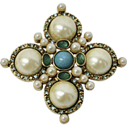 Signed Monet Faux White Pearl Blue & Teal Stone Brooch/Pin