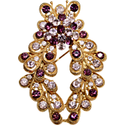 Large Pink & Purple Rhinestone Gold-Plated Stylized Insect Bug Pendant/Brooch/Pin
