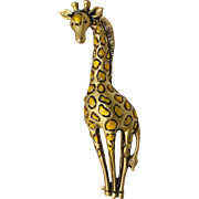 Cute Yellow Enamel Figural Giraffe Goldtone Pin