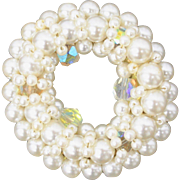 Faux White Pearl Aurora Borealis Rhinestone Wreath Circle Pin