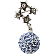 Signed Monet Blue Rhinestone Dangle Ball & Silvertone Star Pin