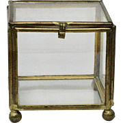 Small Glass & Brass Metal Square Display Box For Jewelry or Trinkets