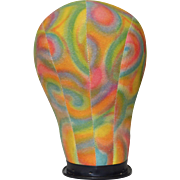 1960s Psychedelic Pink, Green, Yellow and Blue Swirl Mannequin Wig or Hat Fabric Head